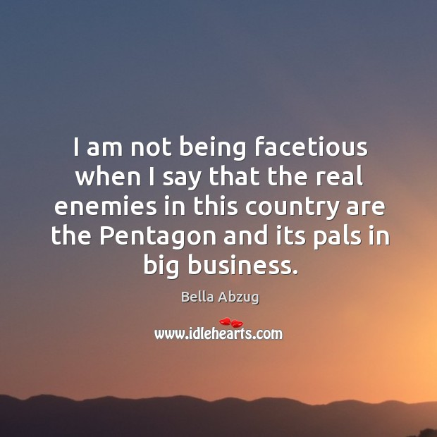 I am not being facetious when I say that the real enemies Image
