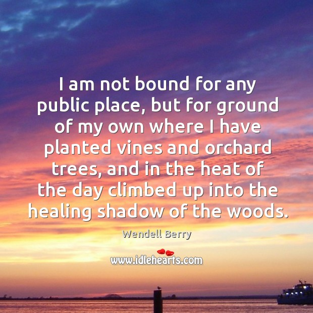 Image, I am not bound for any public place, but for ground of my own where I have planted