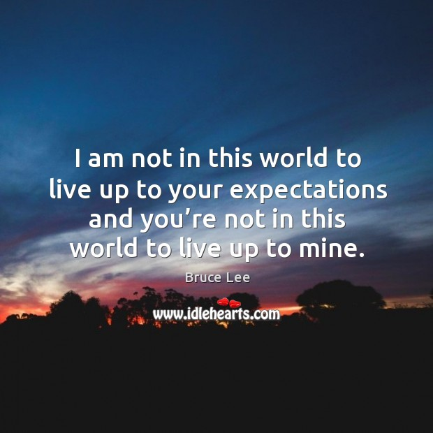 Image, I am not in this world to live up to your expectations.