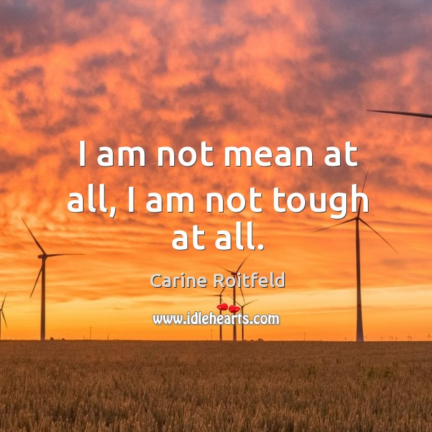 I am not mean at all, I am not tough at all. Carine Roitfeld Picture Quote