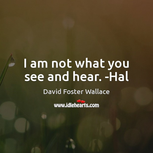 I am not what you see and hear. -Hal David Foster Wallace Picture Quote