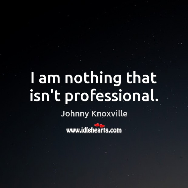 I am nothing that isn't professional. Johnny Knoxville Picture Quote
