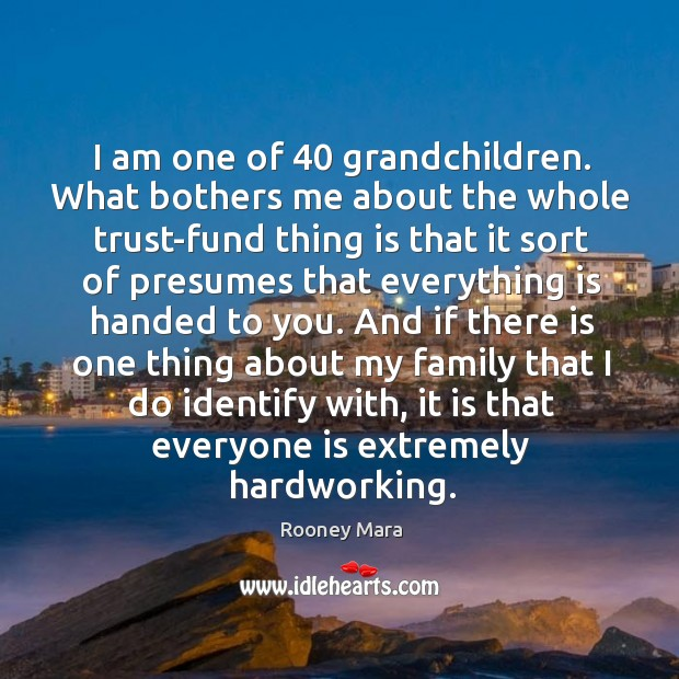 I am one of 40 grandchildren. What bothers me about the whole trust-fund Image