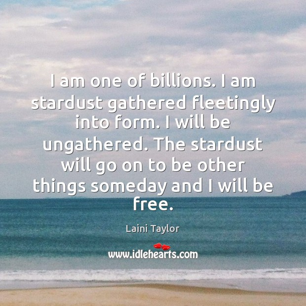 I am one of billions. I am stardust gathered fleetingly into form. Image