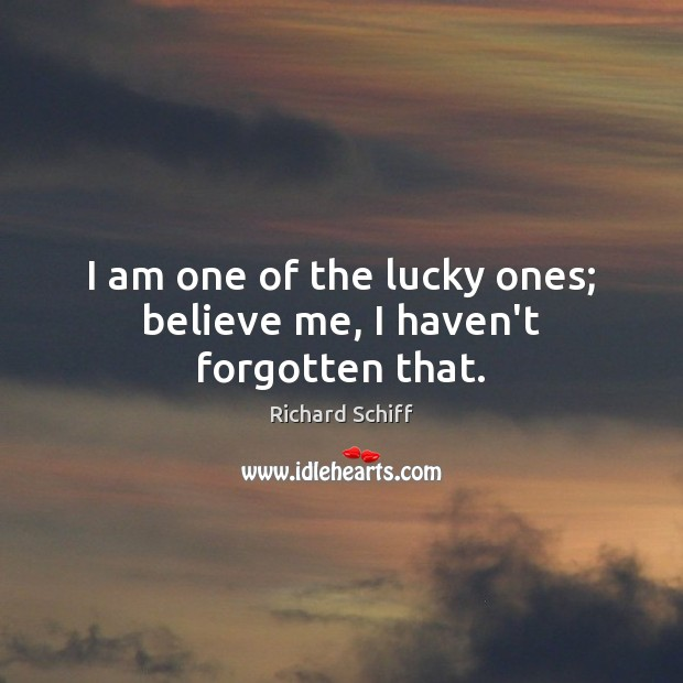 I am one of the lucky ones; believe me, I haven't forgotten that. Richard Schiff Picture Quote