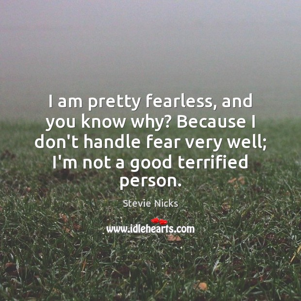 I am pretty fearless, and you know why? Because I don't handle Stevie Nicks Picture Quote