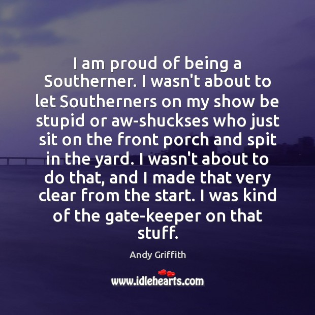 Image, I am proud of being a Southerner. I wasn't about to let