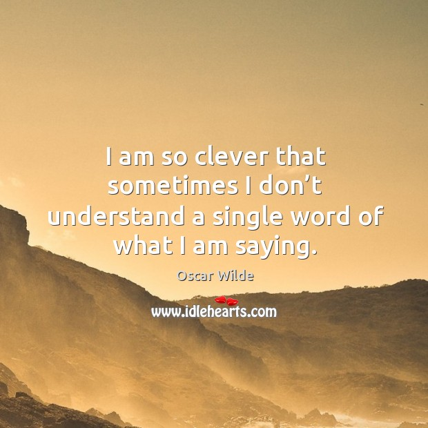 Image, I am so clever that sometimes I don't understand a single word of what I am saying.