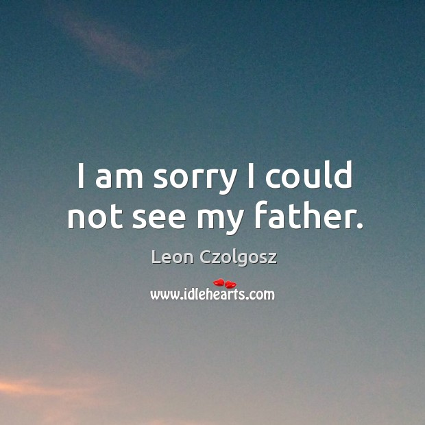 I am sorry I could not see my father. Image