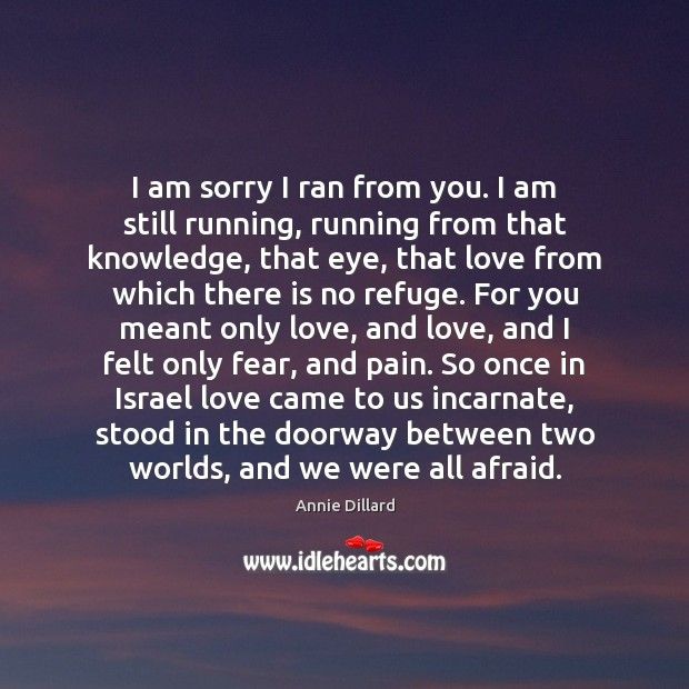 Image, I am sorry I ran from you. I am still running, running