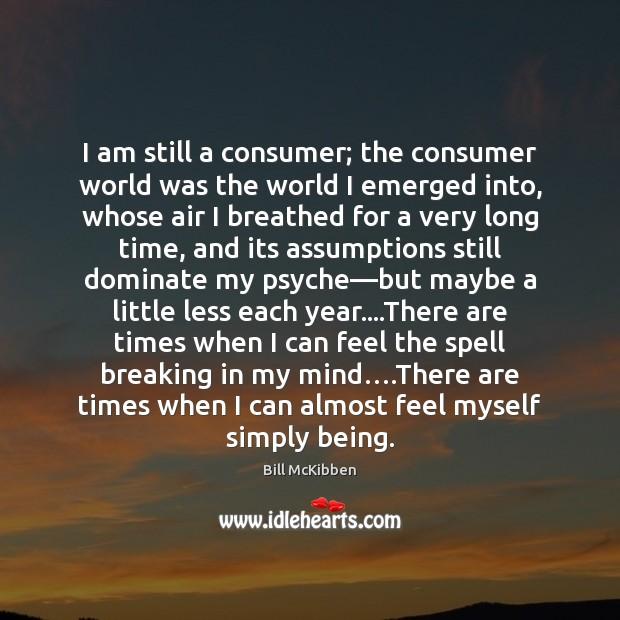 I am still a consumer; the consumer world was the world I Bill McKibben Picture Quote