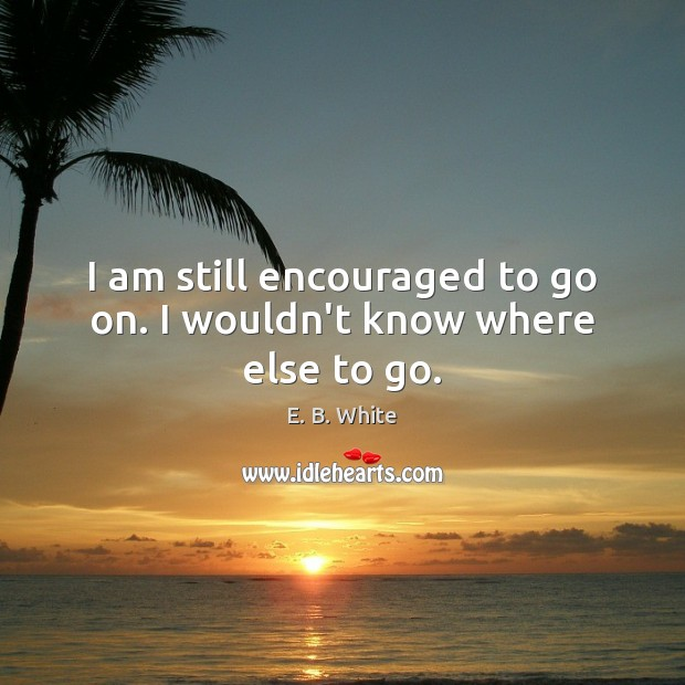 I am still encouraged to go on. I wouldn't know where else to go. E. B. White Picture Quote