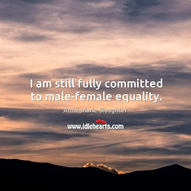 Image, I am still fully committed to male-female equality.