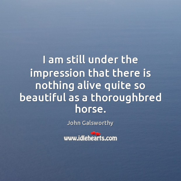 I am still under the impression that there is nothing alive quite John Galsworthy Picture Quote