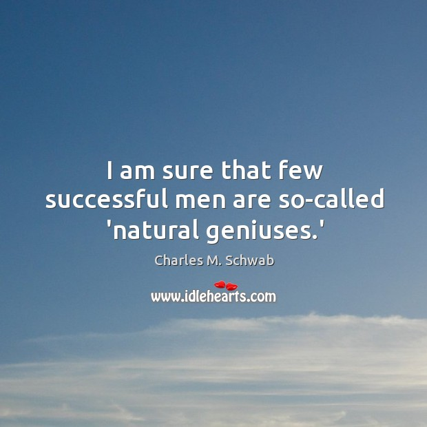 I am sure that few successful men are so-called 'natural geniuses.' Charles M. Schwab Picture Quote