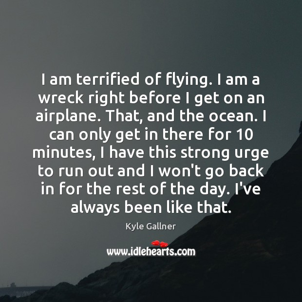 I am terrified of flying. I am a wreck right before I Image