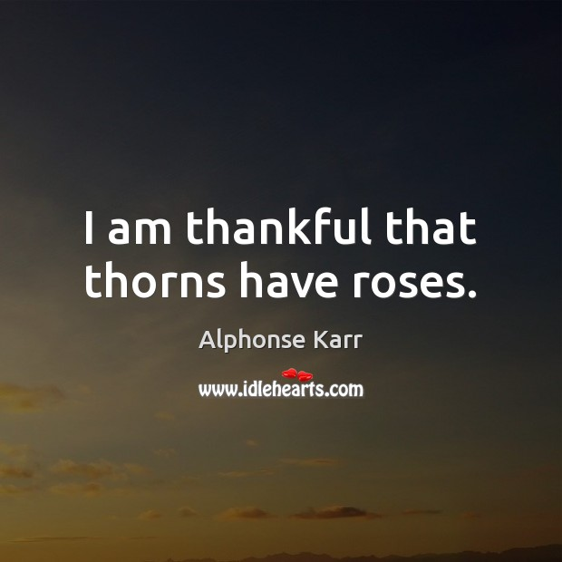 Image, I am thankful that thorns have roses.