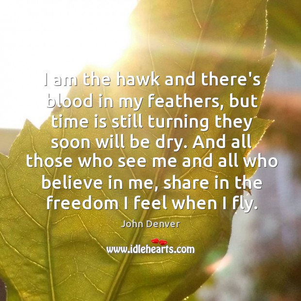 I am the hawk and there's blood in my feathers, but time John Denver Picture Quote