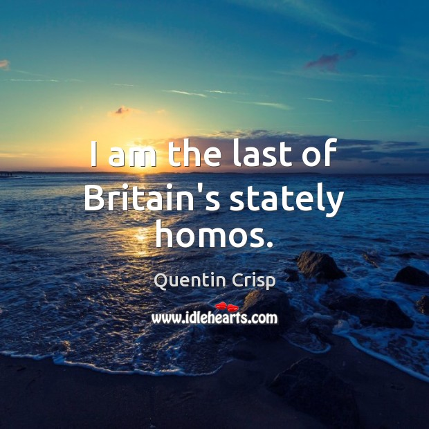 I am the last of Britain's stately homos. Quentin Crisp Picture Quote
