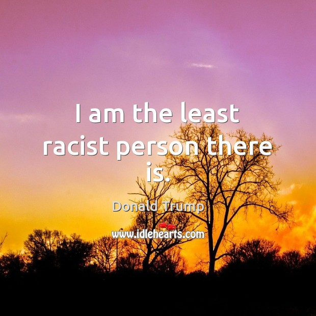 I am the least racist person there is. Image