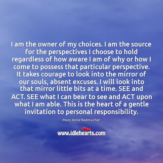 I am the owner of my choices. I am the source for Mary Anne Radmacher Picture Quote