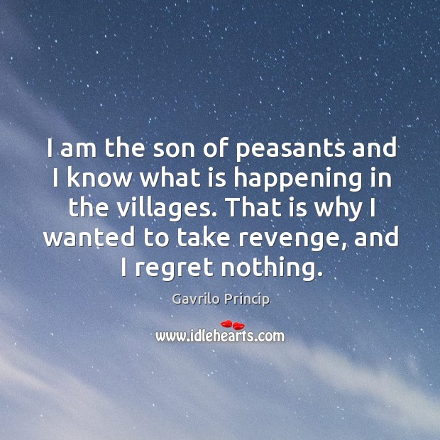 I am the son of peasants and I know what is happening in the villages. Image