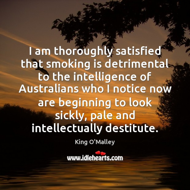 I am thoroughly satisfied that smoking is detrimental to the intelligence of Smoking Quotes Image