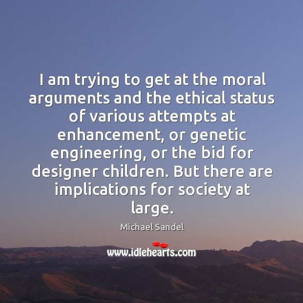 I am trying to get at the moral arguments and the ethical Image