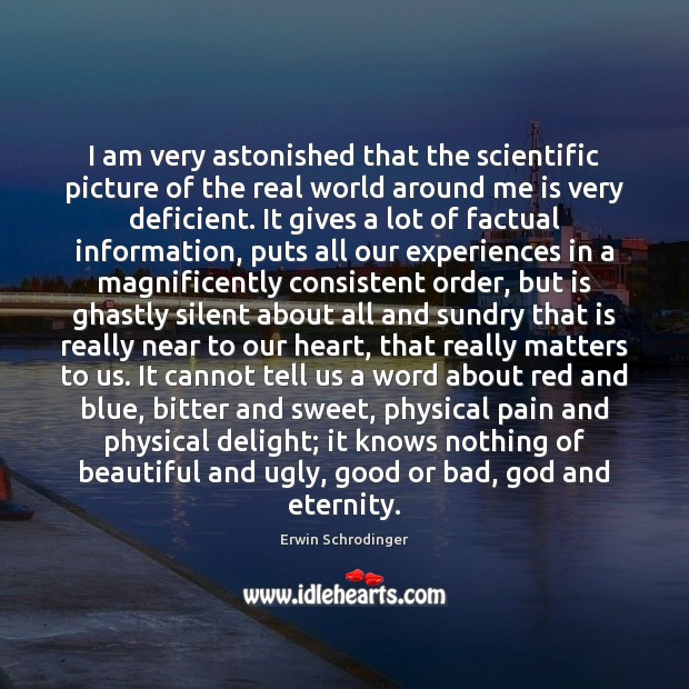 I am very astonished that the scientific picture of the real world Erwin Schrodinger Picture Quote