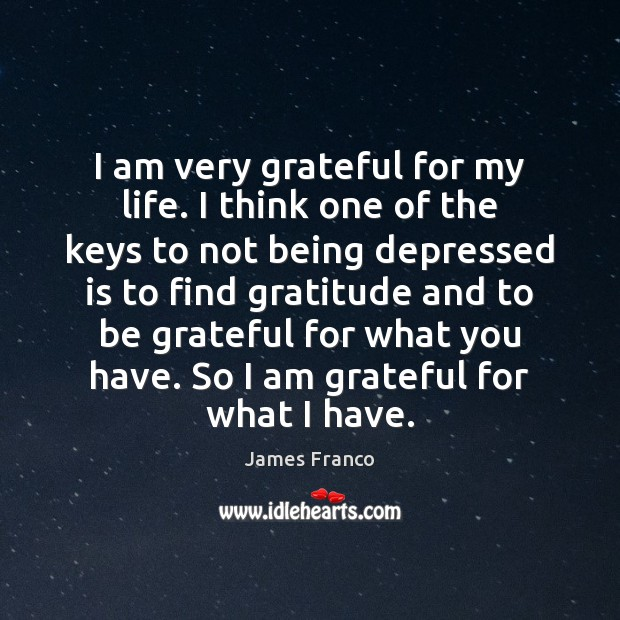 I am very grateful for my life. I think one of the James Franco Picture Quote