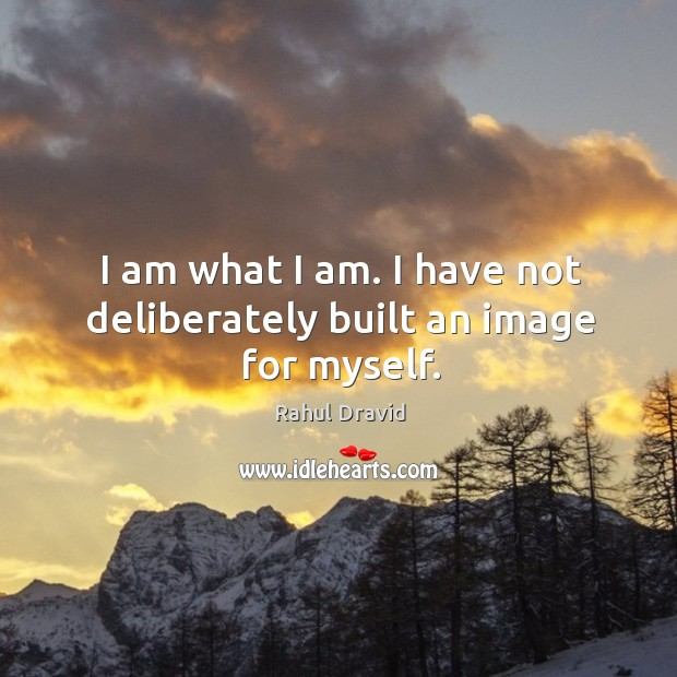 I am what I am. I have not deliberately built an image for myself. Image