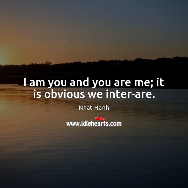 Image, I am you and you are me; it is obvious we inter-are.