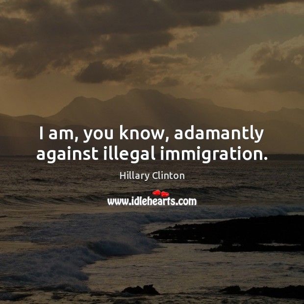 Image, I am, you know, adamantly against illegal immigration.