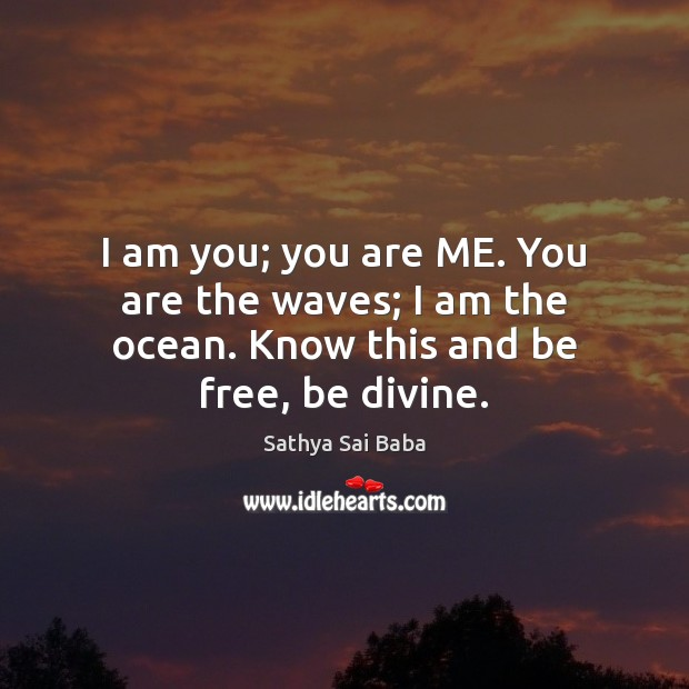 I am you; you are ME. You are the waves; I am the ocean. Know this and be free, be divine. Image