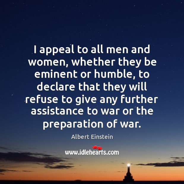 I appeal to all men and women, whether they be eminent or Image