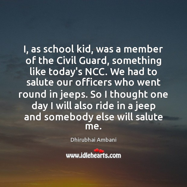 Image, I, as school kid, was a member of the Civil Guard, something