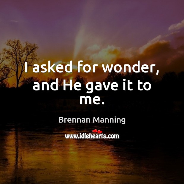 I asked for wonder, and He gave it to me. Image