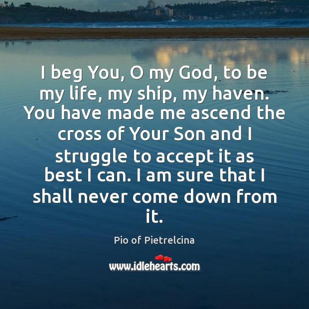 I beg You, O my God, to be my life, my ship, Pio of Pietrelcina Picture Quote