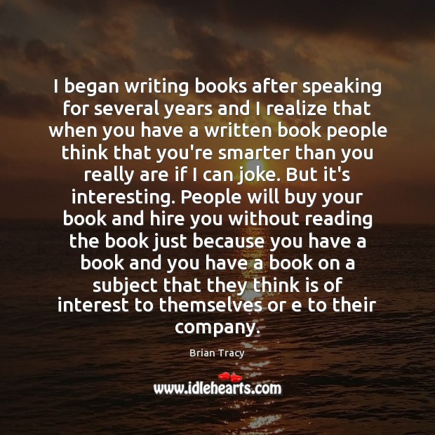 I began writing books after speaking for several years and I realize Image