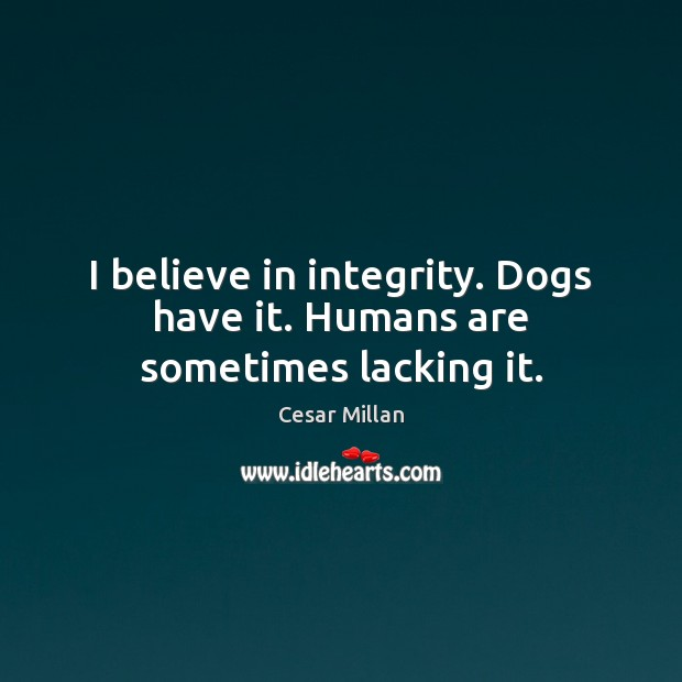 I believe in integrity. Dogs have it. Humans are sometimes lacking it. Image
