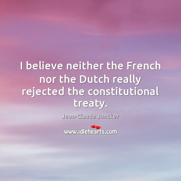 I believe neither the French nor the Dutch really rejected the constitutional treaty. Image