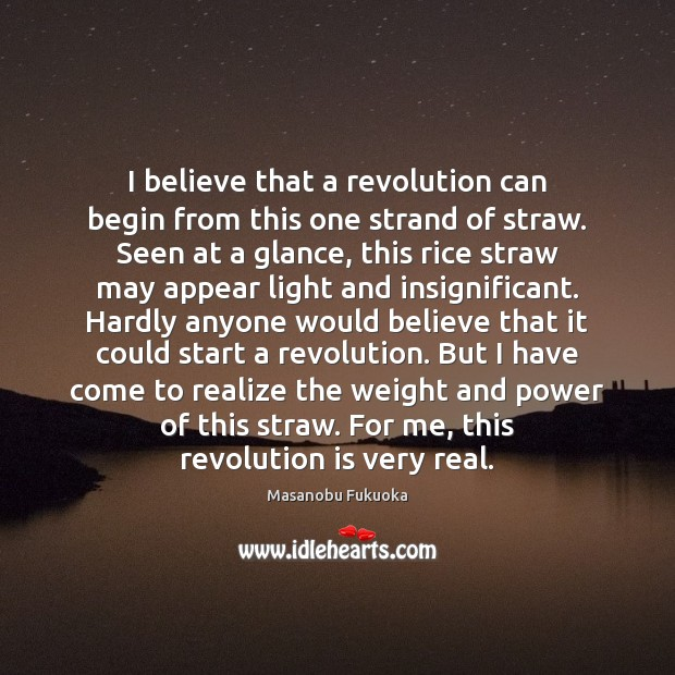 I believe that a revolution can begin from this one strand of Masanobu Fukuoka Picture Quote
