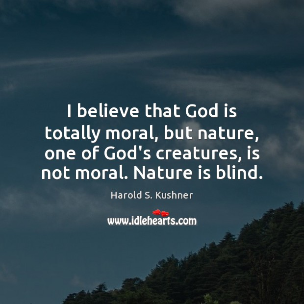 I believe that God is totally moral, but nature, one of God's Image