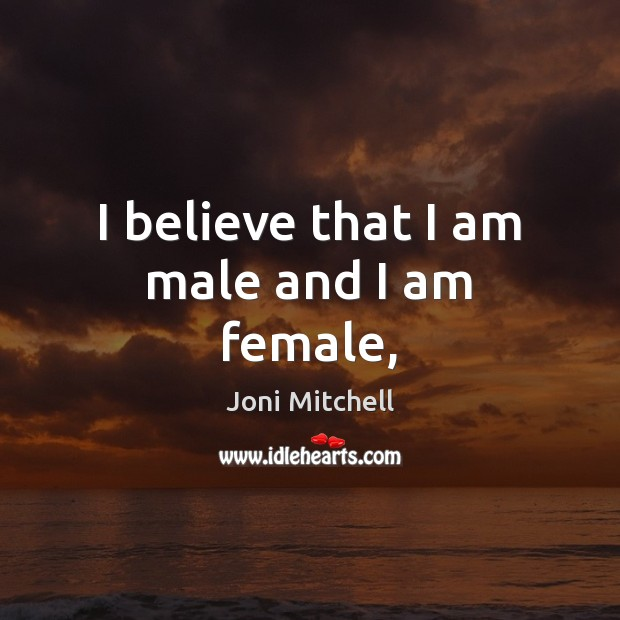 I believe that I am male and I am female, Image