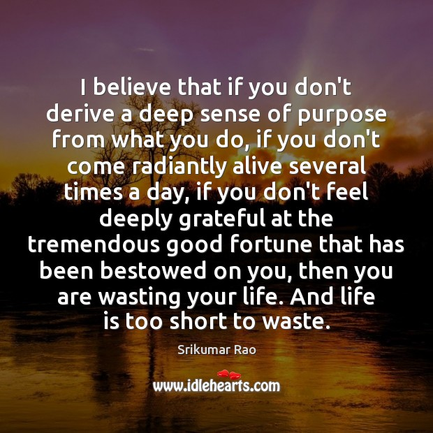 I believe that if you don't derive a deep sense of purpose Life is Too Short Quotes Image
