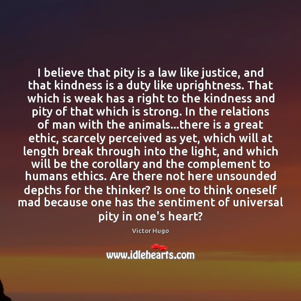 I believe that pity is a law like justice, and that kindness Kindness Quotes Image