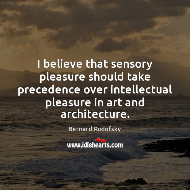 Image, I believe that sensory pleasure should take precedence over intellectual pleasure in