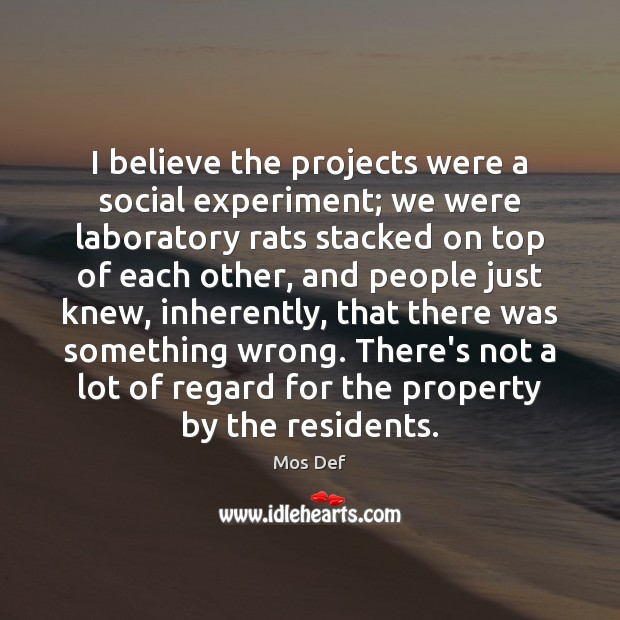 I believe the projects were a social experiment; we were laboratory rats Mos Def Picture Quote