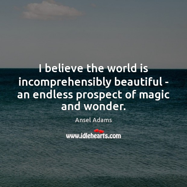 I believe the world is incomprehensibly beautiful – an endless prospect of Image