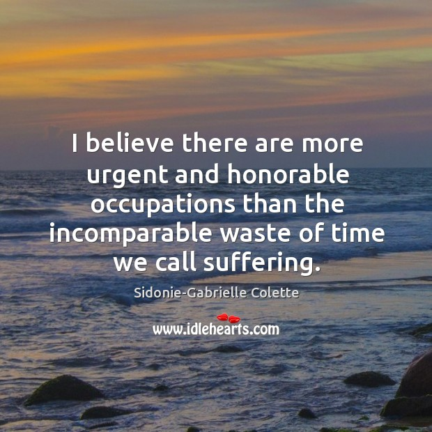 I believe there are more urgent and honorable occupations than the incomparable waste of time we call suffering. Sidonie-Gabrielle Colette Picture Quote